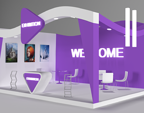 3D model game-ready Exhibition Stall