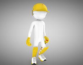 3D asset Cricket Rigged batsman and bowler