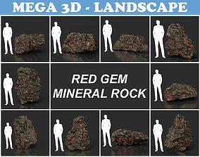 3D model Low Poly Red Gem Mineral Rock 210823