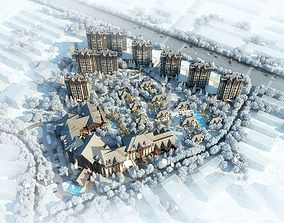 Residential winter building complex 005 3D