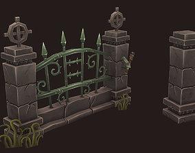 3D asset Cemetery Fence
