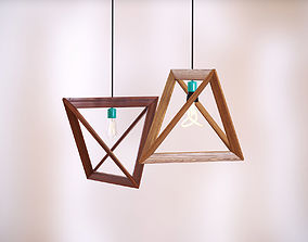 Wooden luster lamp 3D