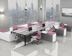 3D model office workstation