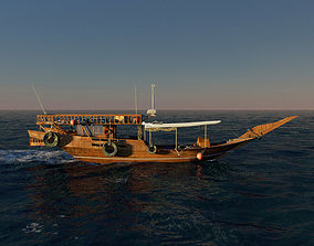 3D Qatar Boat traditional Dhow And open Ocean fast Render