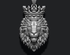 3D print model Lion pendant with crown and closed mouth
