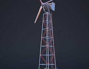 Wind turbine 3D model rigged game-ready