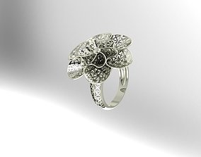 ring 3D print model flower for women