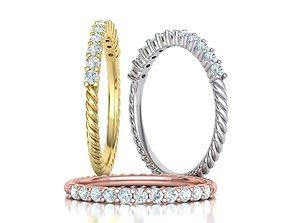 Rope Diamond Band ring 3dmodel