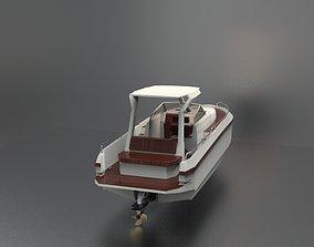 Boat white 3D asset