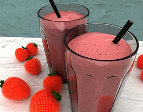 3D model interior strawberry milk