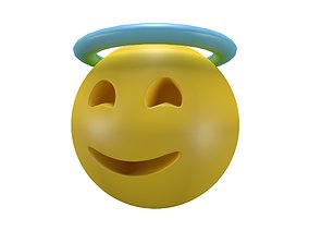 3D asset VR / AR ready Smiling Face with Halo