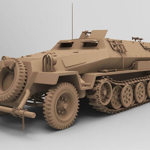 ww2 sdkfz 251 HighPoly transport Vehicle 3D model