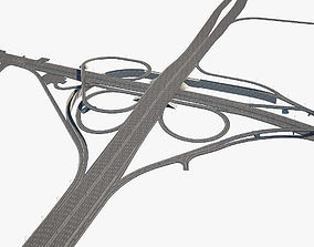 highway 3D model Highway Road Junction