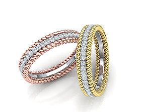 Rope Diamond Band Ring 3dmodel Three finger size