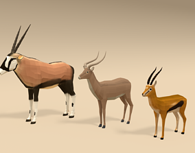 3D model Low Poly Cartoon African Antelopes Pack