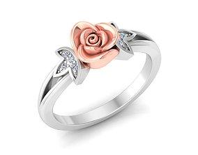 silver Women Rose Ring 3dm stl render detail