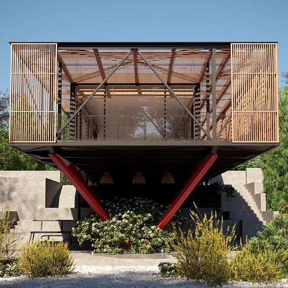 Slatted wood encloses glass  Engawa House
