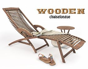 Wooden Sunbed and Table with Towel 3D model