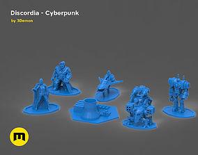 3D printable model Discordia Cyberpunk board game figures