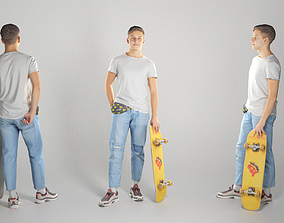 Cute young man with a yellow skateboard 109 3D asset