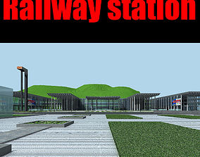 3D Railway station railway fbx