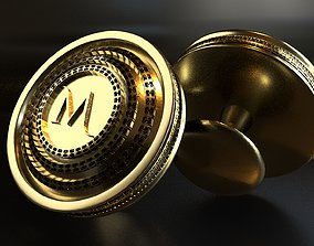 3D print model Luxury Cufflink with alphabet M