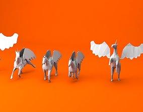 3D model 6 Lowpoly Unicorn Pegasus