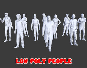 10 Low Poly People Posed Collection Pack 12 3D asset