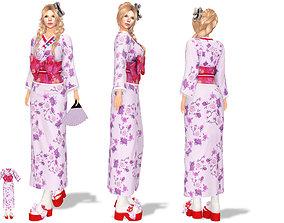 3D asset Geisha Kimono and Sandals