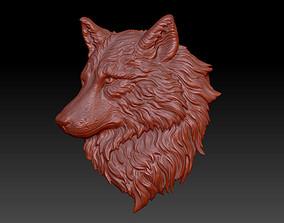 3D printable model bas-relief wolf head