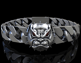 angry 3D printable model Angry Bulldog bracelet