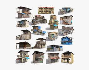 19 Slum Collection Low-poly 3D model shanty