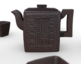 Chinese Teapot with Cups 3D model