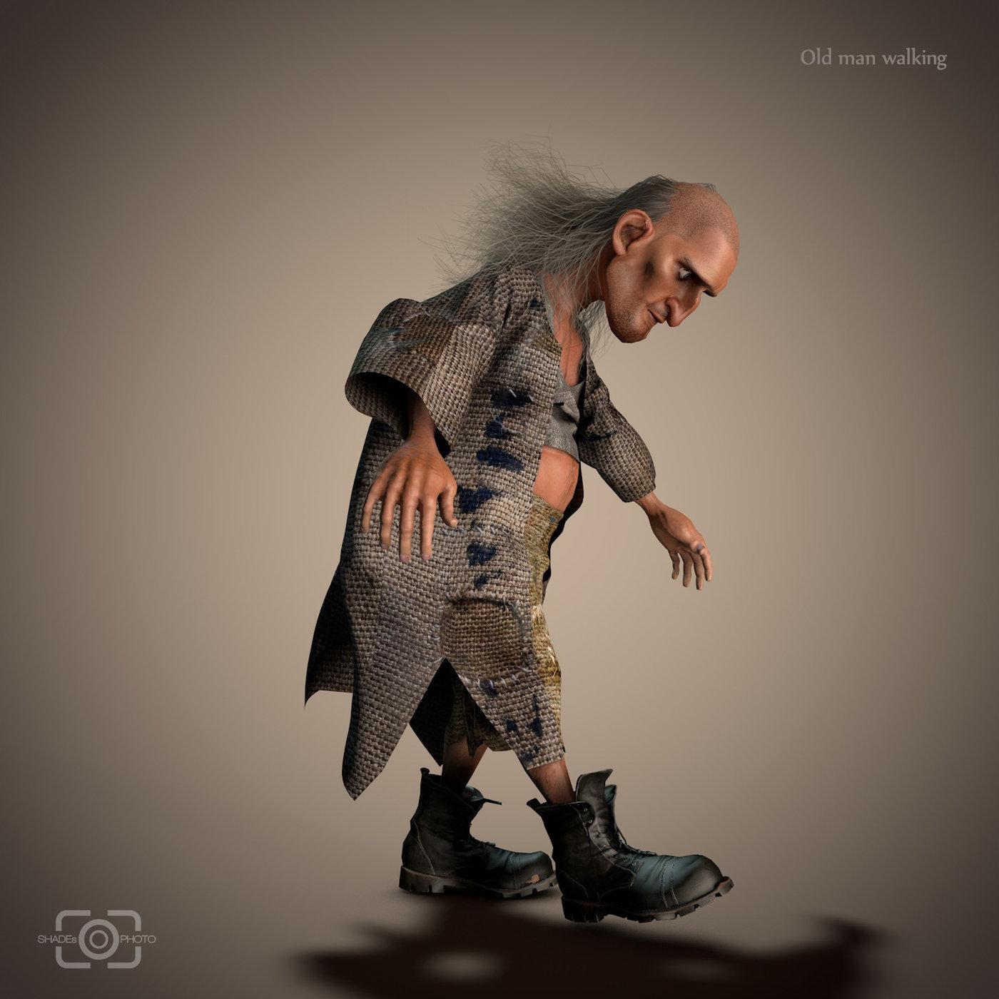Old Man Character Walking Renders