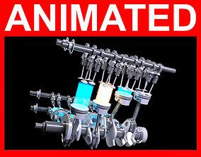 V8 Engine Ignition Animation 3D model