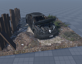 3D asset rigged game-ready Destroyed Car abandoned