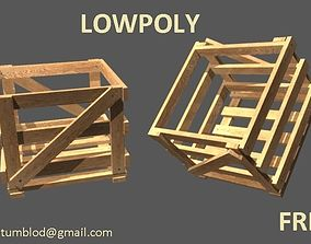 3D model VR / AR ready Lowpoly crate