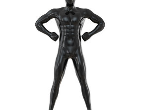 3D model Male black mannequin in wide pose with arms on 1