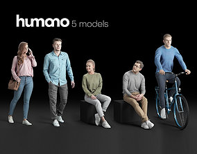 Humano 5-Pack - CASUAL - STREET - PEOPLE - 5x 3D models 1