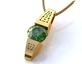 3D model Gold Pendant with Emerald BP072