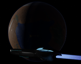 Planet and Spaceship 3D model
