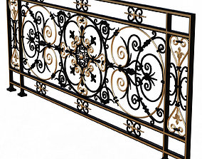 3D asset Forging Iron Forged Balcony Railing Baroque