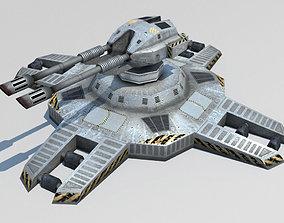 Turret sci-fi lowpoly 3d model cupola