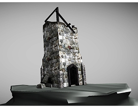 low poly ruined tower 3D asset