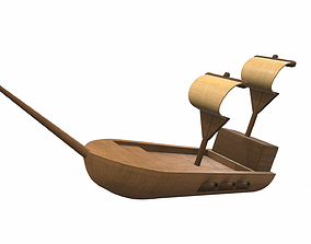 3D Wooden ship toy 8
