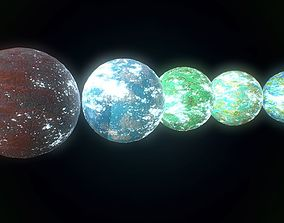 Low poly sci fi exo planets assets VR / AR ready