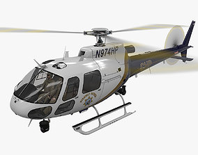 AS-350 California Highway Patrol Animated 3D asset