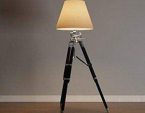 Ansel Tripod Chrome and Black Floor Lamp 3D asset