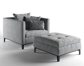 Andersen Armchair with Footstool 3D