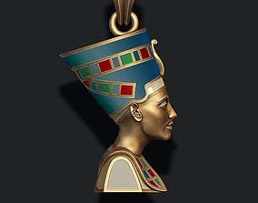 Nefertiti pendant enamel 3D print model